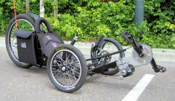 Cyclone electric bicycle transmission for Recumbent bike with electric motor